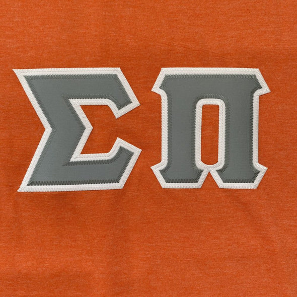 Sigma Pi Stitched Letter T-Shirt | Heather Orange| Gray Letters with White Border