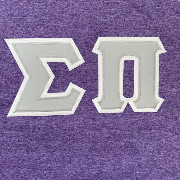 Sigma Pi Stitched Letter T-Shirt | Heather Purple | Gray Letters with White Border