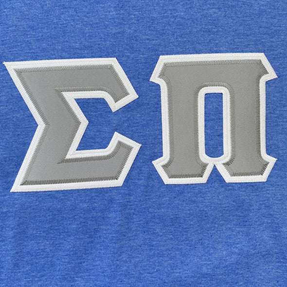 Sigma Pi Stitched Letter T-Shirt | Heather Royal | Gray Letters with White Border