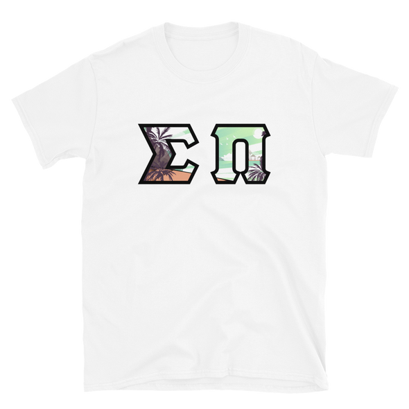 Sigma Pi Printed Letters | Tropical with Black Border