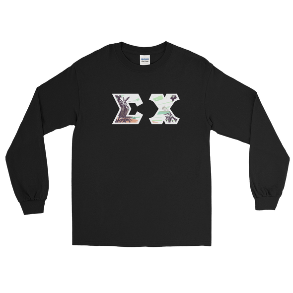 Sigma Chi Printed Letter Long Sleeve | Tropical Pattern