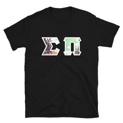 Sigma Pi Printed Lettered T-Shirt | Tropical Pattern