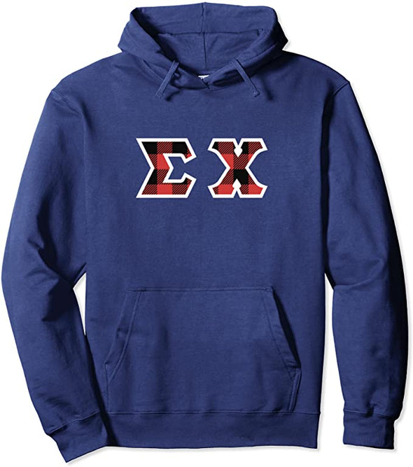Sigma Chi Printed Letter Hoodie | Red Plaid