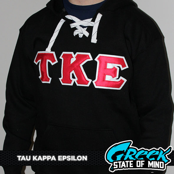 Tau Kappa Epsilon Stitched Letter Hockey Hoodie | Black | Red with White Border