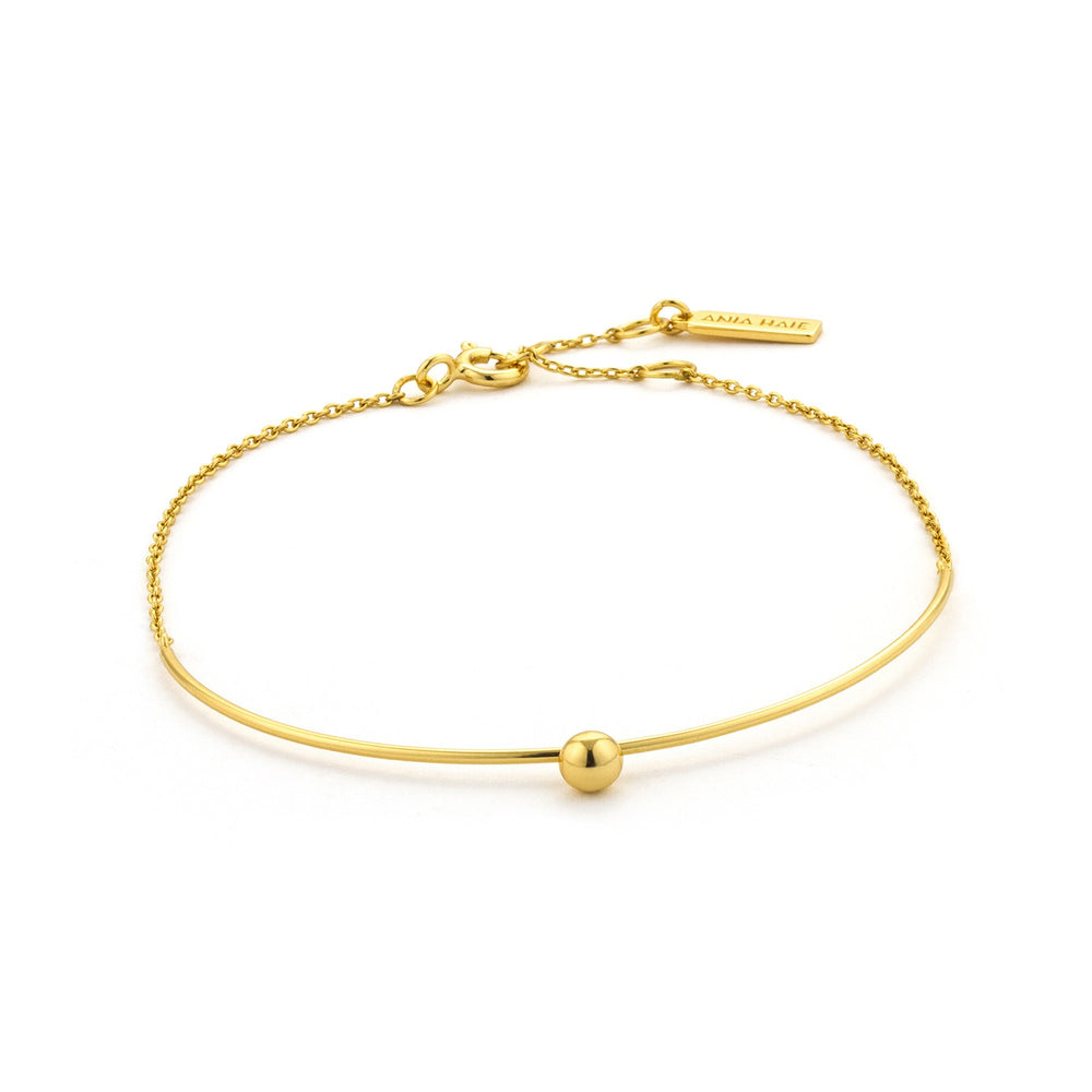 Gold Orbit Solid Bar Bracelet