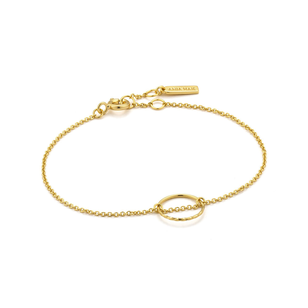 Load image into Gallery viewer, Gold Twist Chain Circle Bracelet