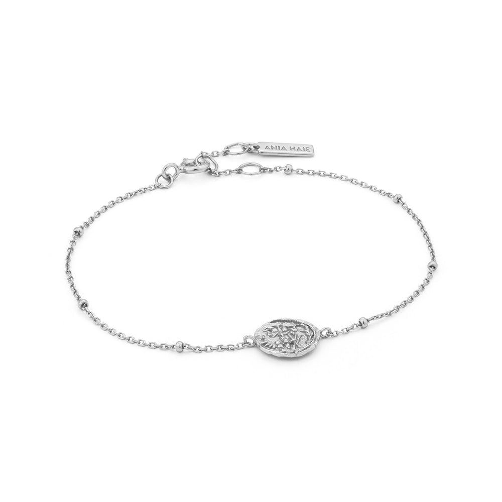 Load image into Gallery viewer, Silver Emblem Beaded Bracelet