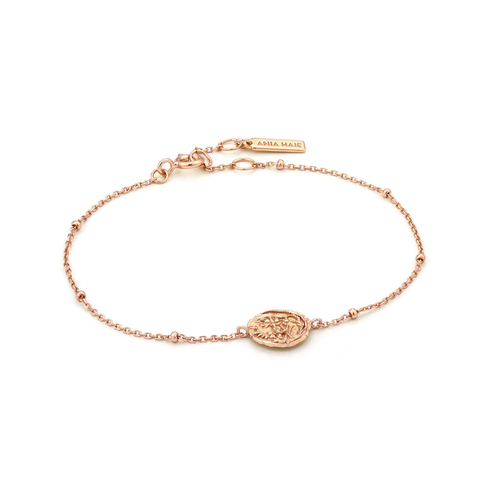 Rose Gold Emblem Beaded Bracelet