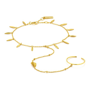 Gold Tropic Hand Chain Bracelet