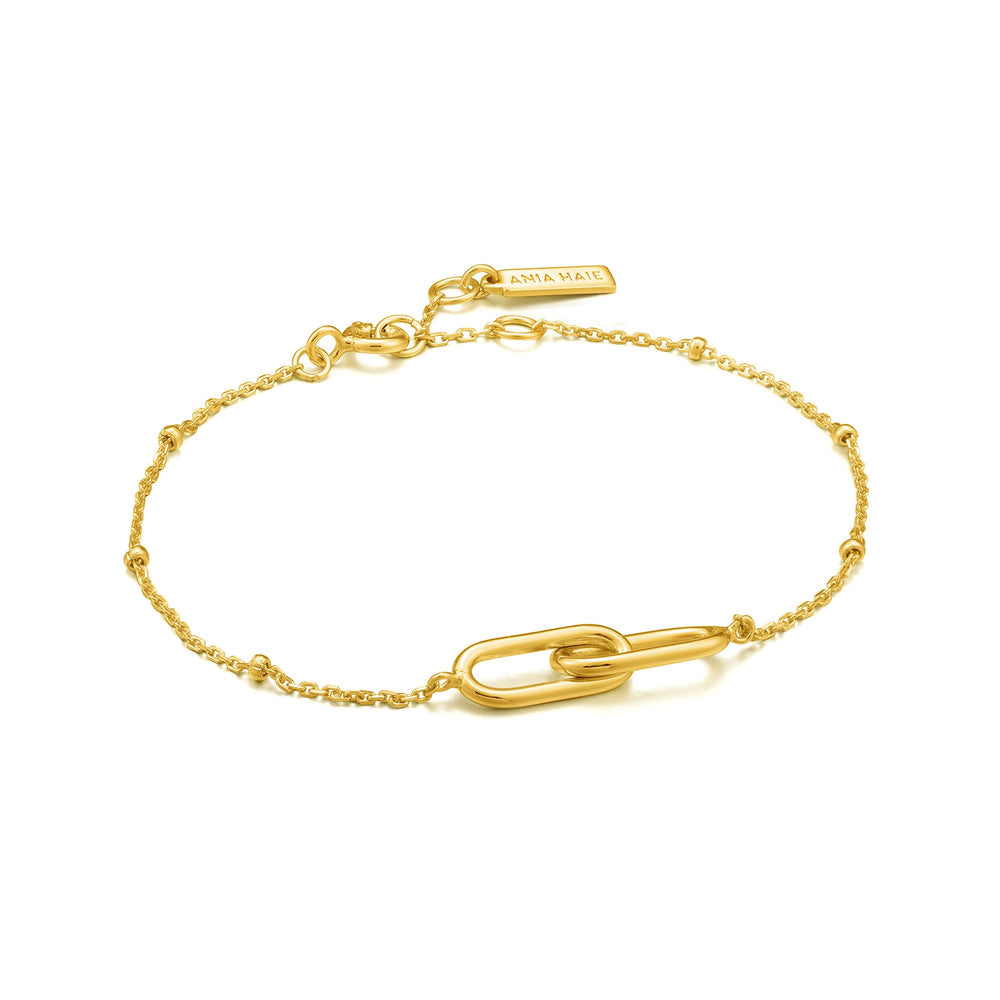 Load image into Gallery viewer, Gold Beaded Chain Link Bracelet
