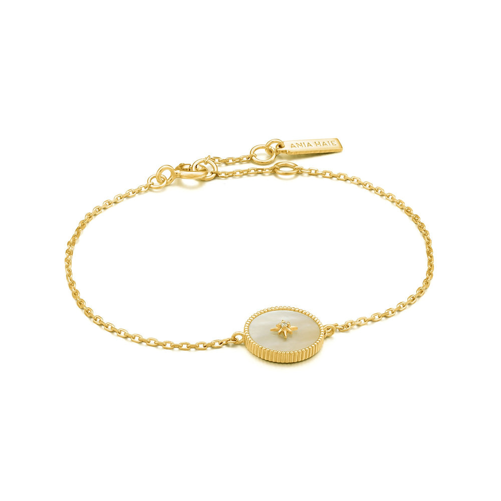 Load image into Gallery viewer, Gold Mother Of Pearl Emblem Bracelet