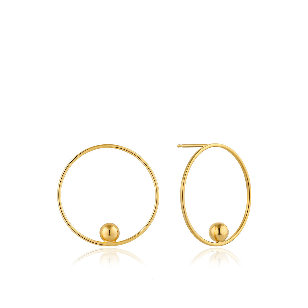 Gold Orbit Front Hoop Earrings