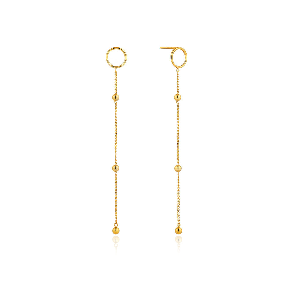 Load image into Gallery viewer, Gold Modern Beaded Drop Earrings