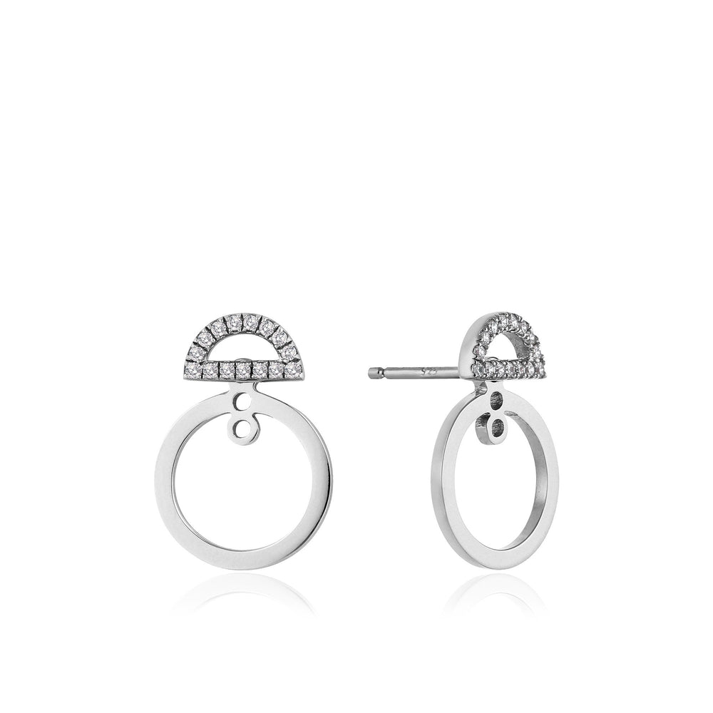 Load image into Gallery viewer, Silver Shimmer Pavé Hoop Ear Jackets