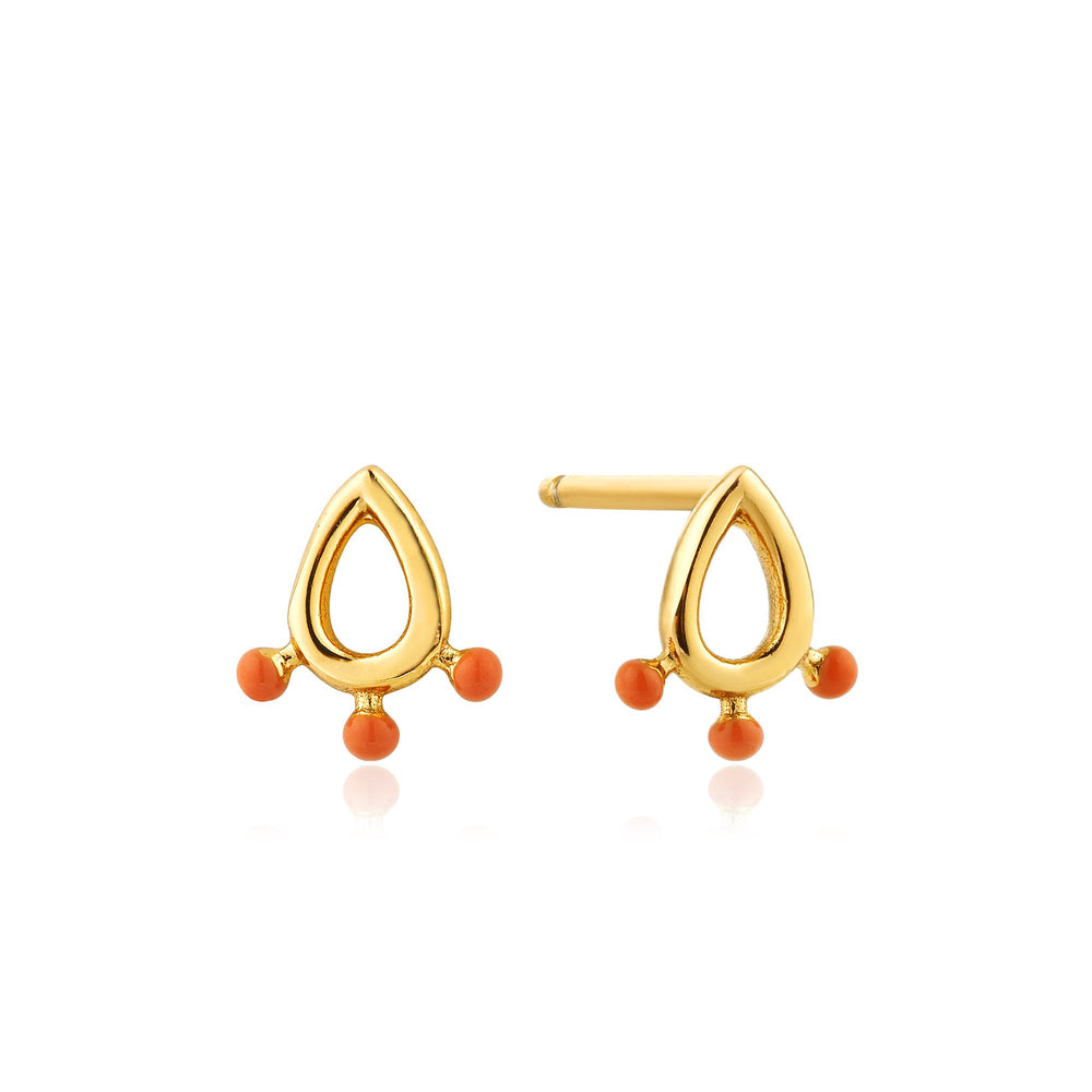 Gold Dotted Raindrop Stud Earrings