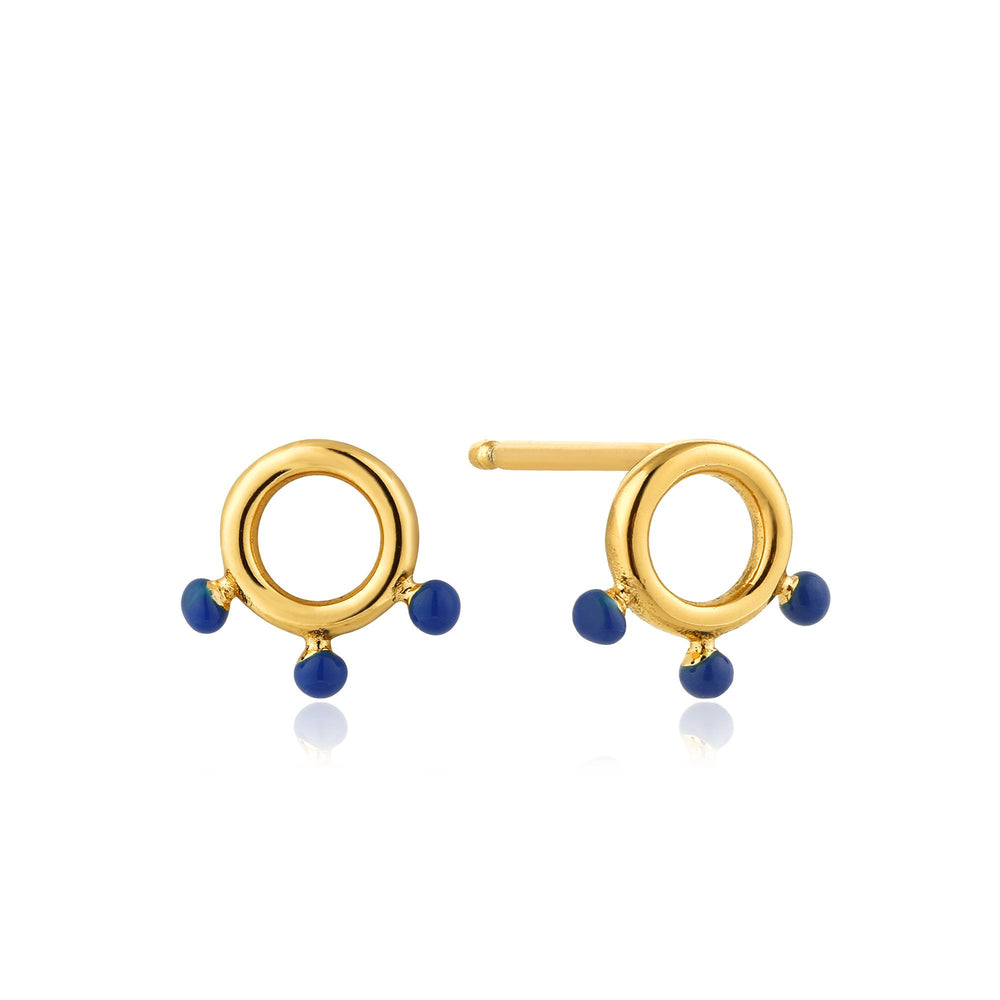 Gold Dotted Circle Stud Earrings