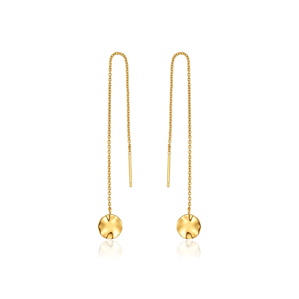 Gold Ripple Threader Earrings