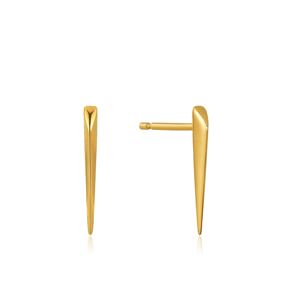 Gold Straight Spike Stud Earrings