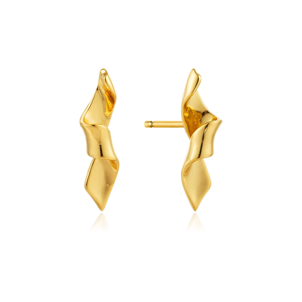 Gold Helix Stud Earrings