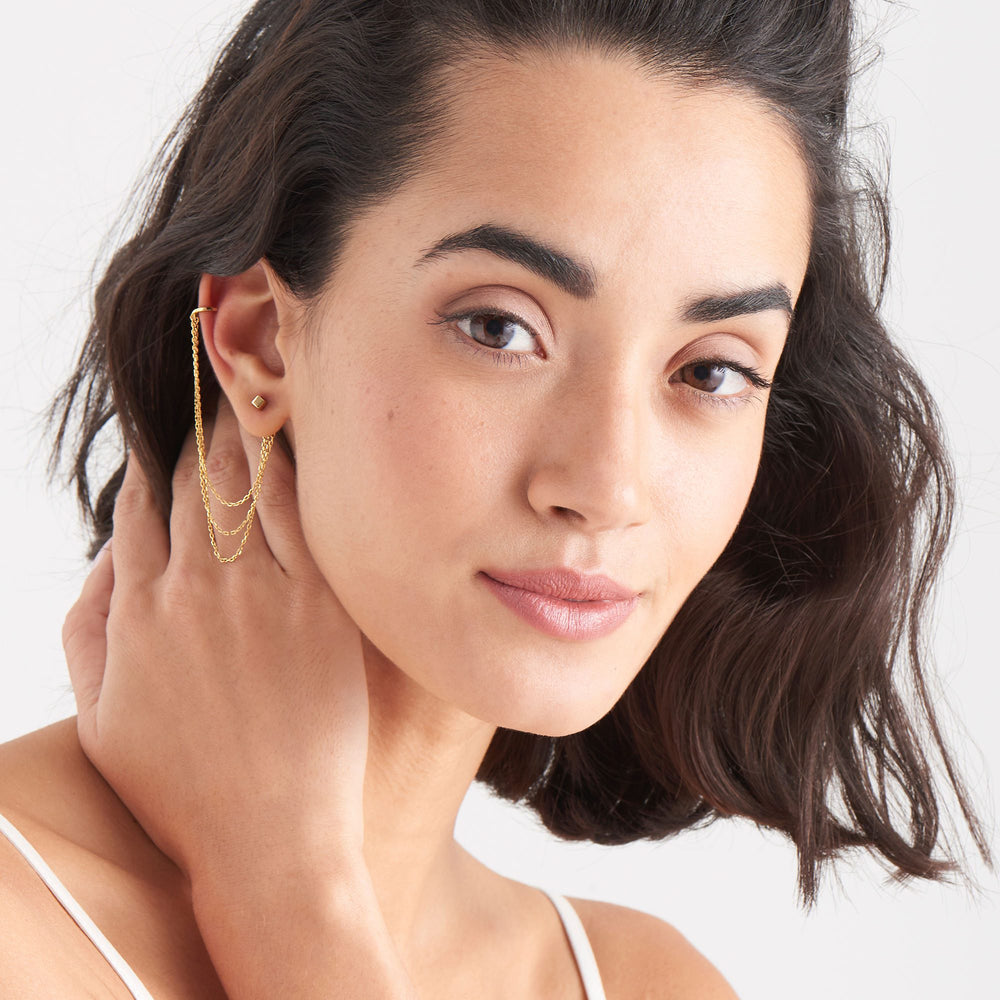 Gold Draping Swing Ear Cuff