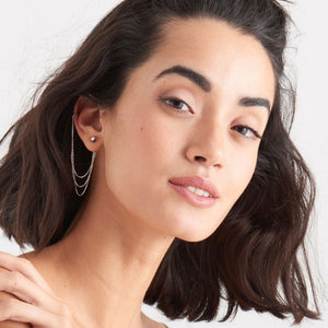 Load image into Gallery viewer, Silver Draping Swing Ear Cuff