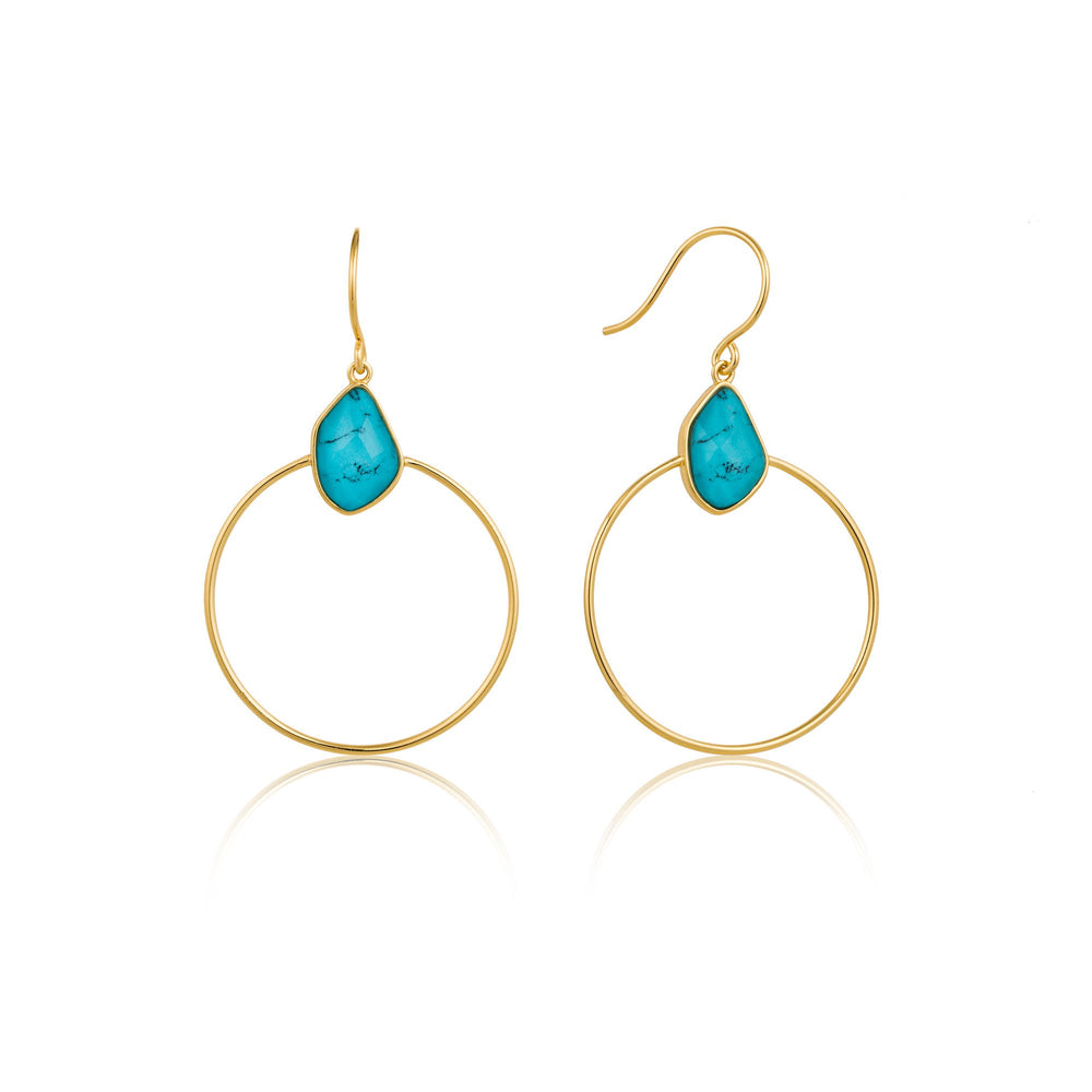 Turquoise Front Hoop Gold Earrings