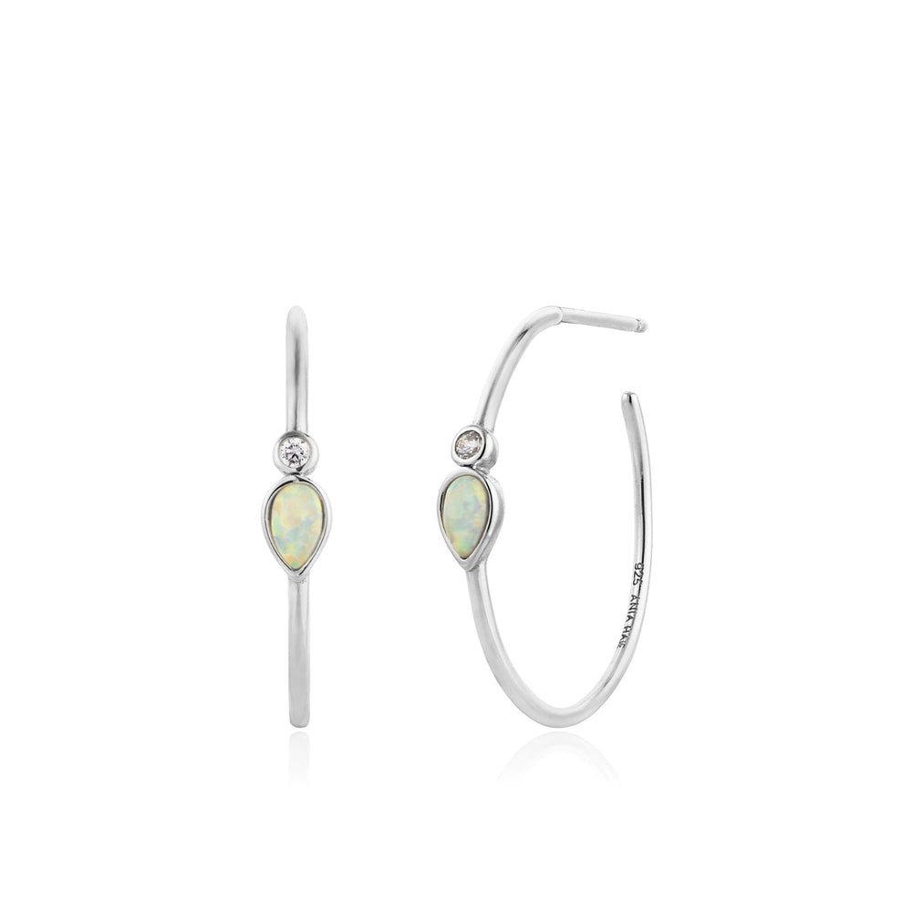 Load image into Gallery viewer, Opal Colour Raindrop Silver Hoop Earrings