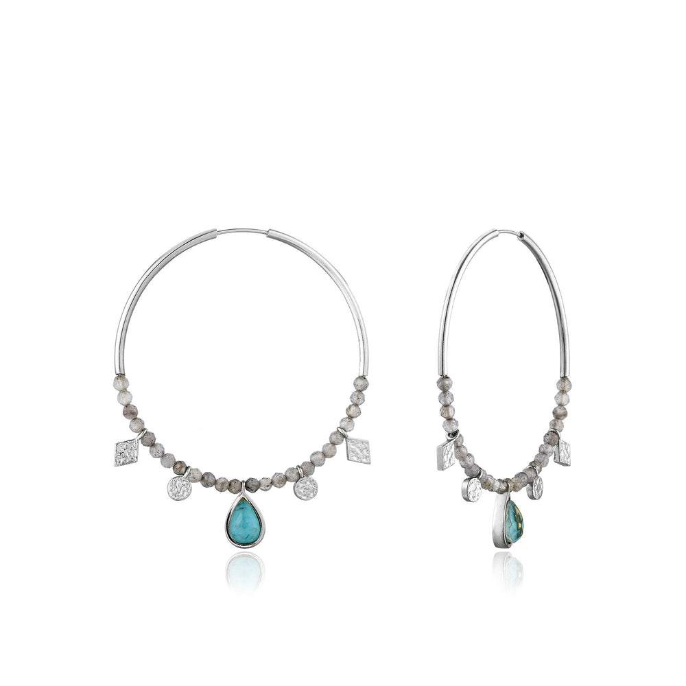 Load image into Gallery viewer, Turquoise Labradorite Silver Hoop Earrings