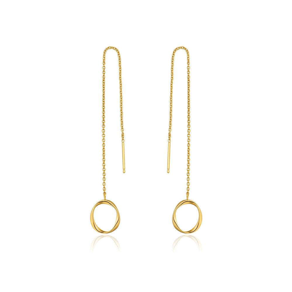 Load image into Gallery viewer, Gold Swirl Threader Earrings