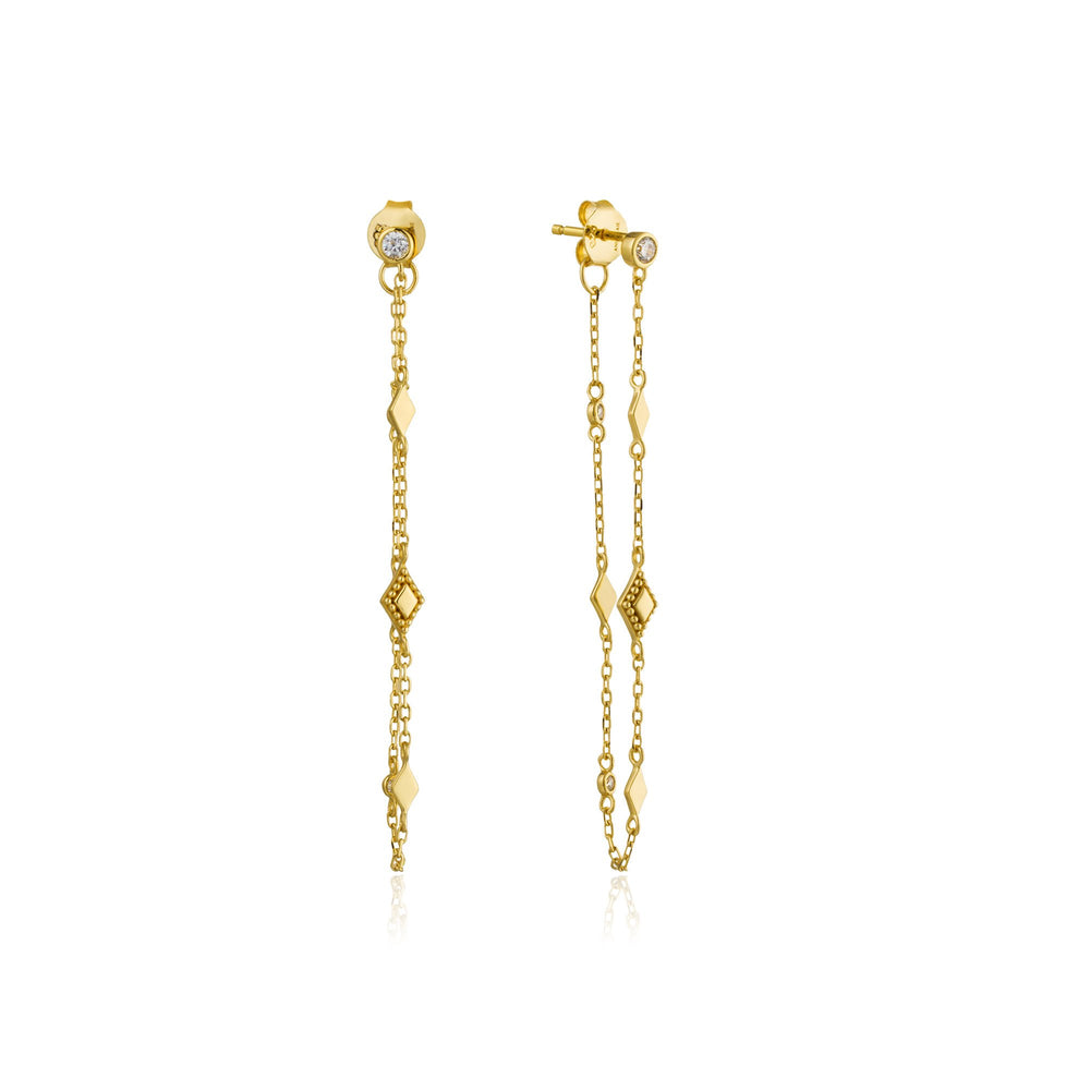 Gold Bohemia Chain Stud Earrings