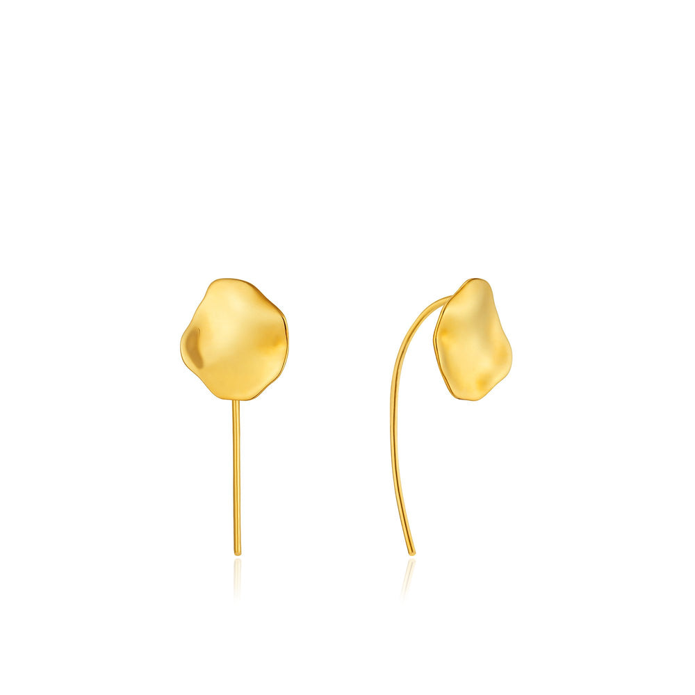 Gold Crush Disc Solid Drop Earrings