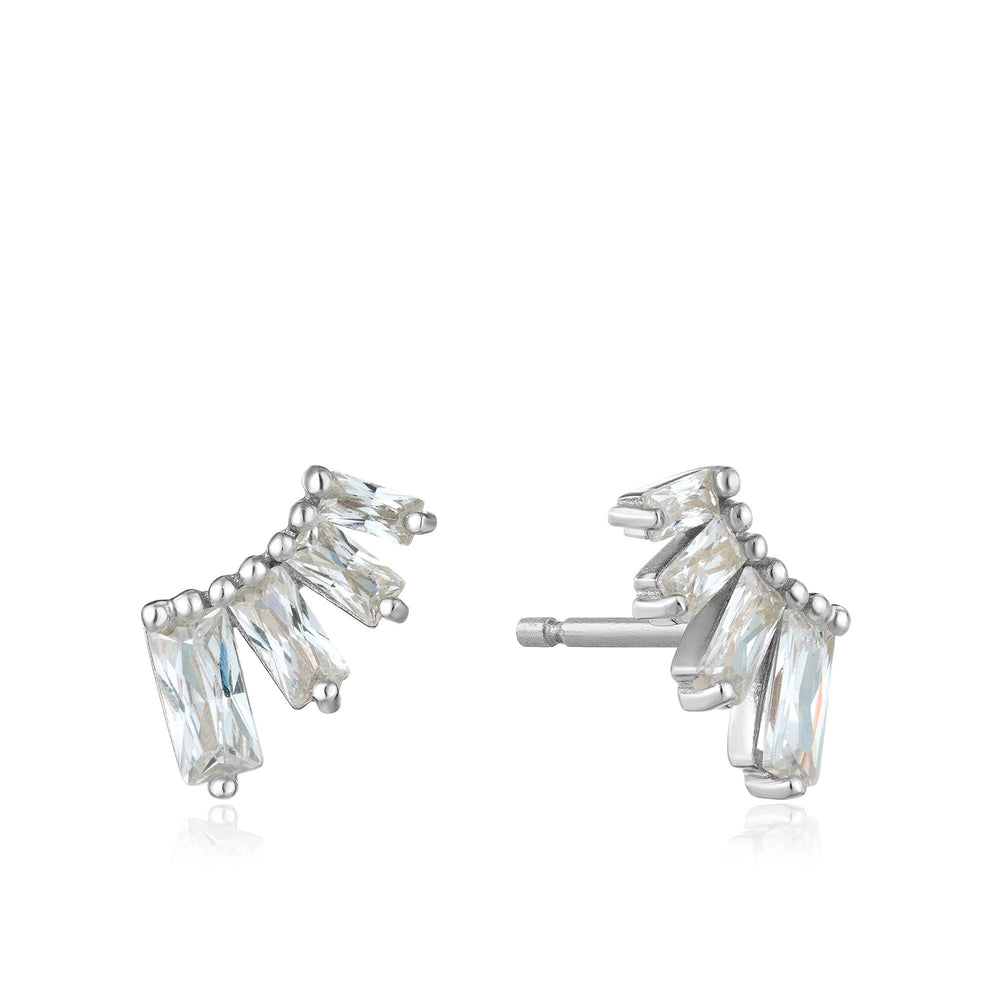 Load image into Gallery viewer, Silver Glow Bar Stud Earrings
