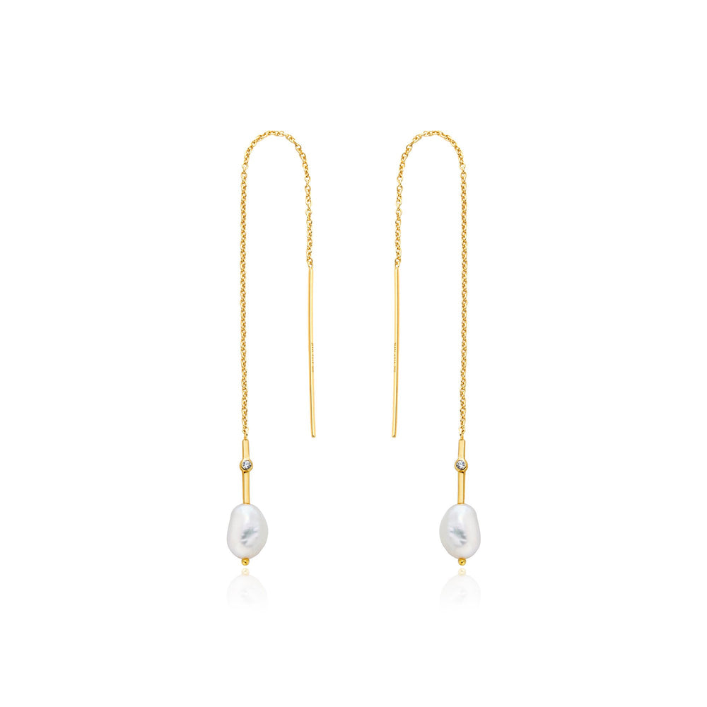 Load image into Gallery viewer, Gold Pearl Threader Earrings