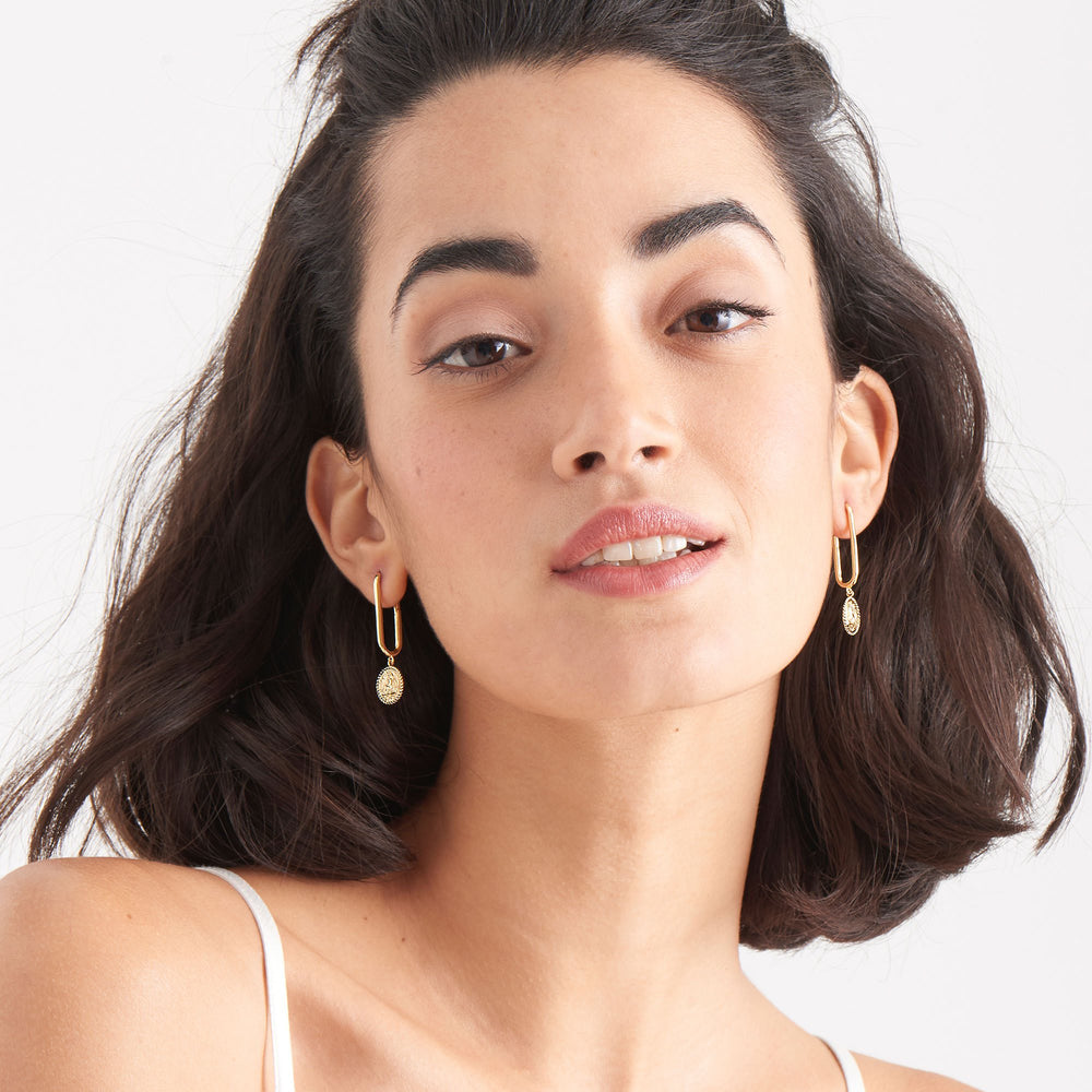 Gold Winged Goddess Hoop Earrings