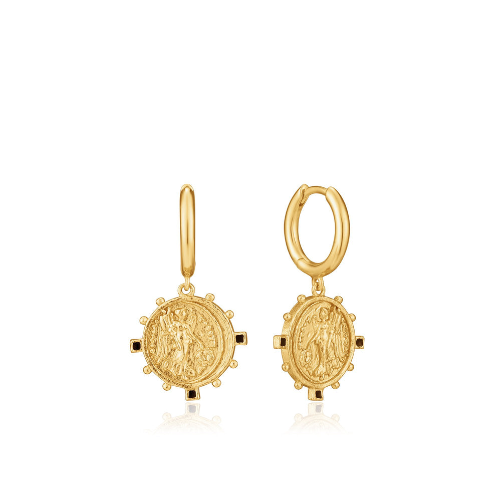 Gold Victory Goddess Mini Hoop Earrings