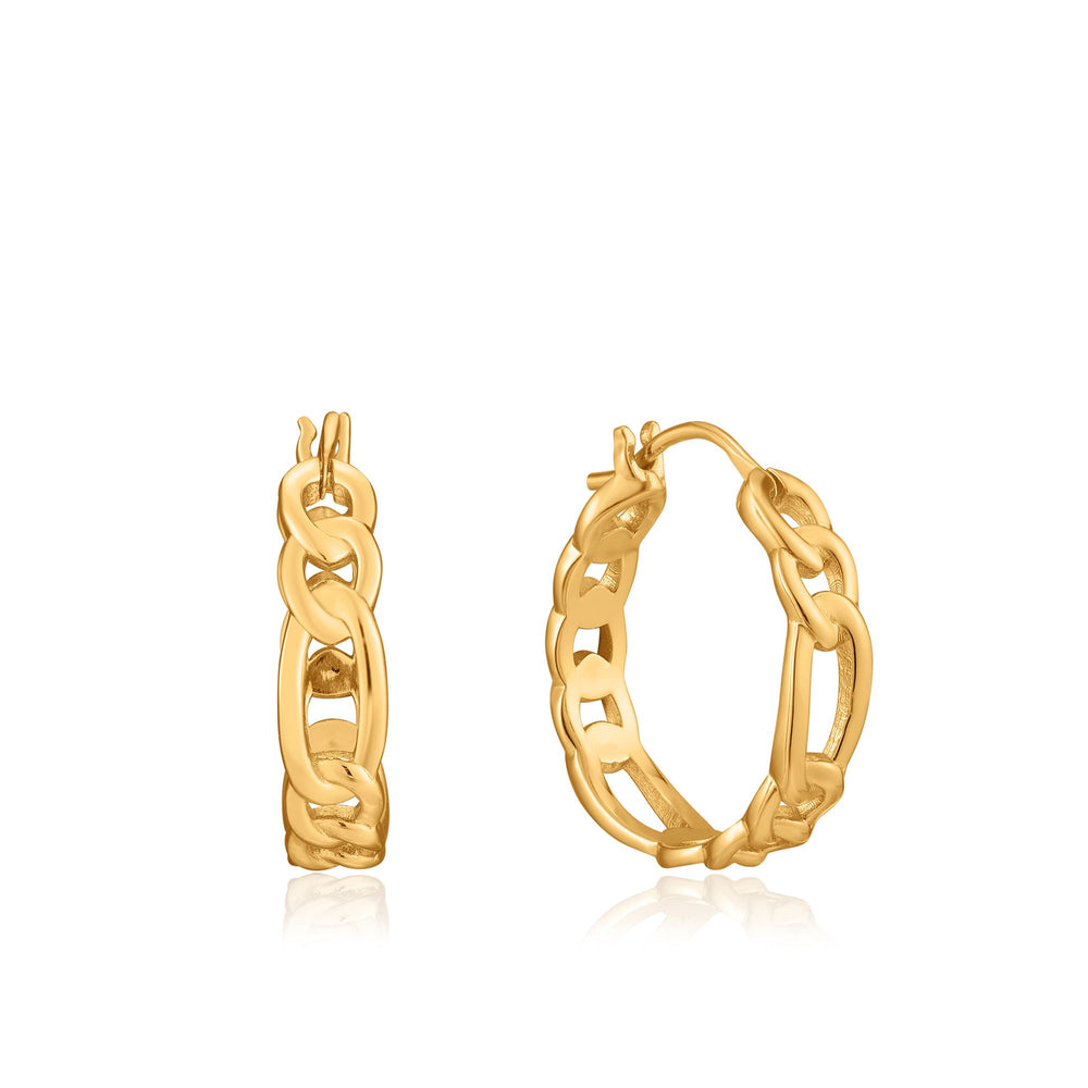 Gold Figaro Chain Hoop Earrings