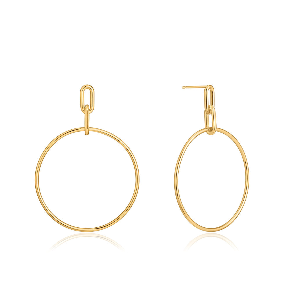 Gold Cable Link Hoop Earrings