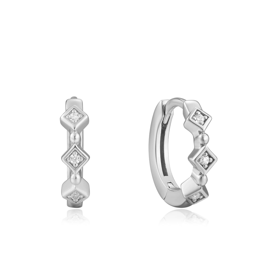 Load image into Gallery viewer, Silver Sparkle Huggie Hoops