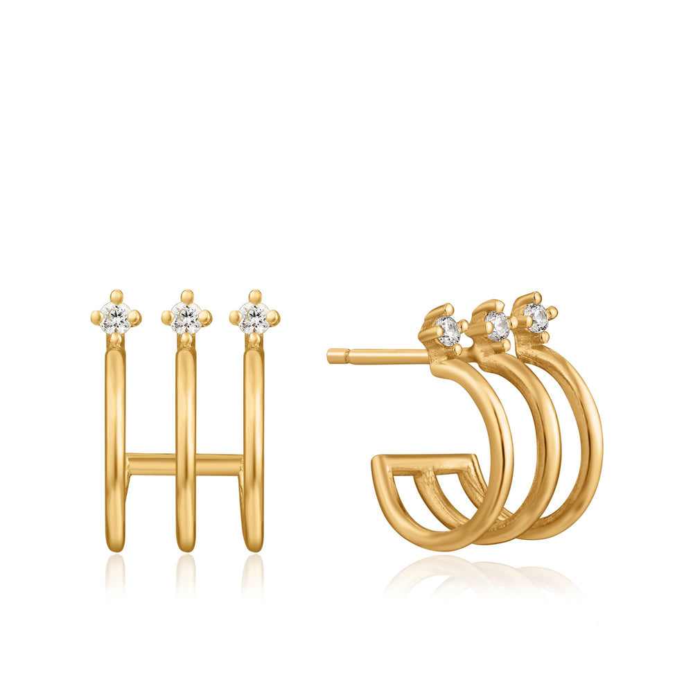 Gold Triple Mini Hoop Stud Earrings