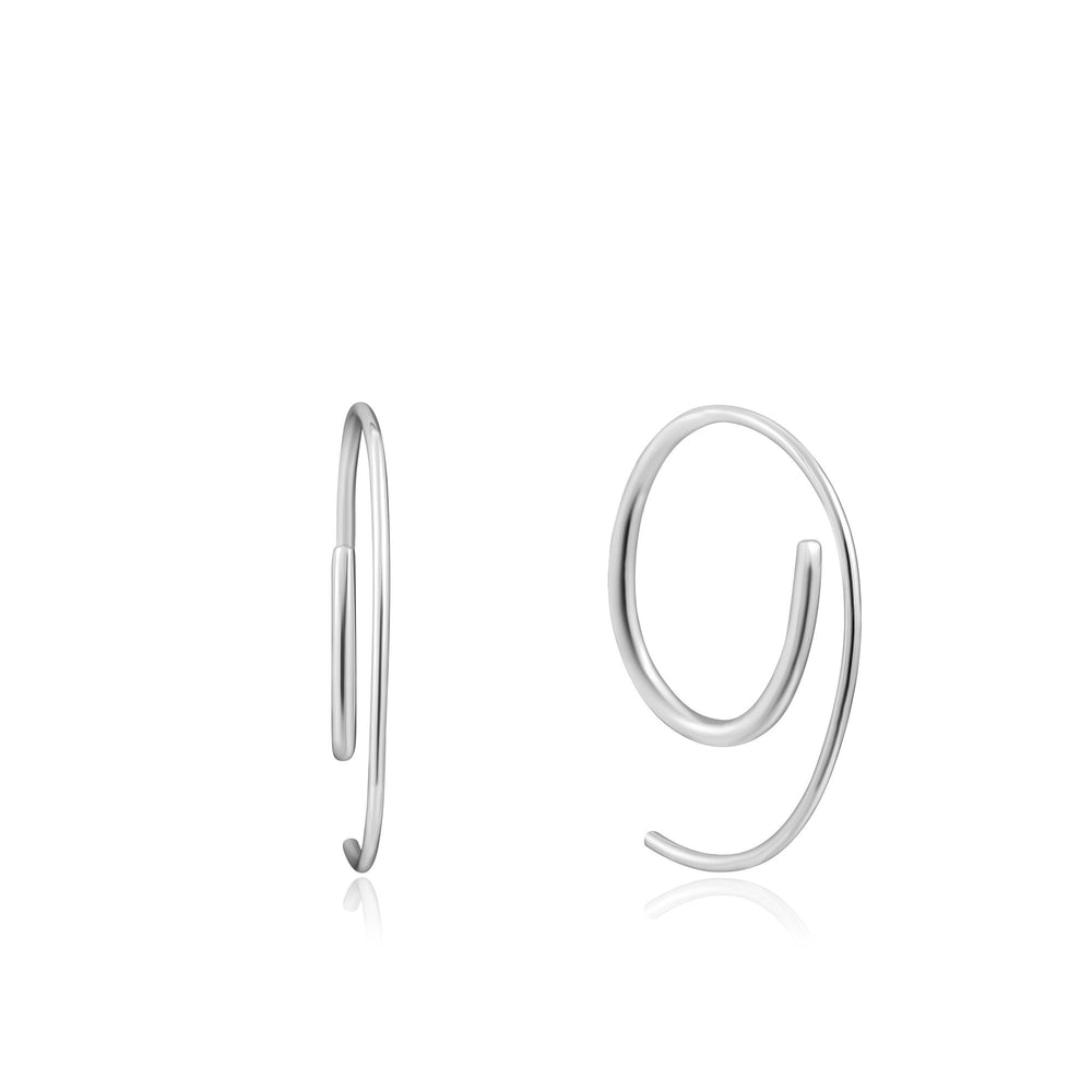 Load image into Gallery viewer, Silver Twist Through Earrings