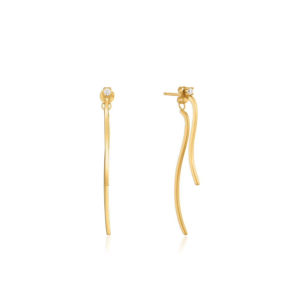 Gold Curve Drop Bar Ear Jackets