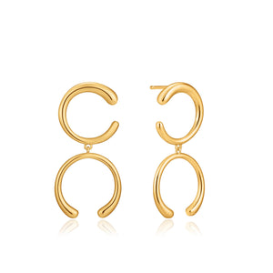 Load image into Gallery viewer, Gold Luxe Double Curve Earrings
