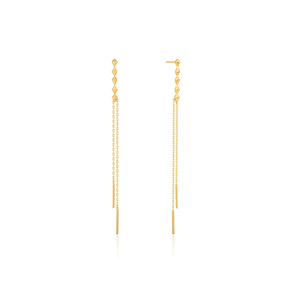 Load image into Gallery viewer, Gold Spike Double Drop Earrings