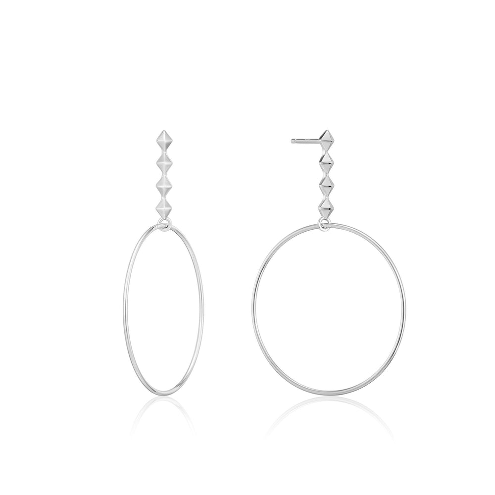 Silver Spike Hoop Earrings