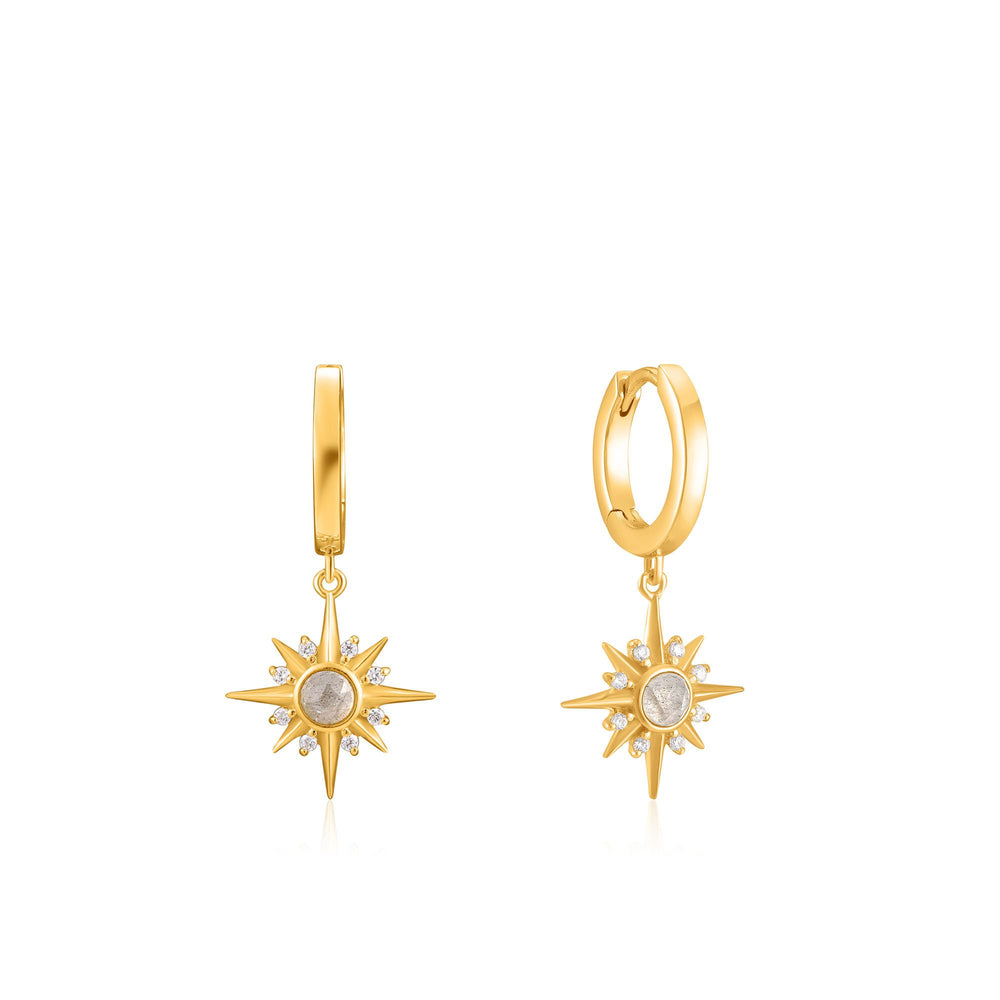 Gold Midnight Star Huggie Hoop Earrings