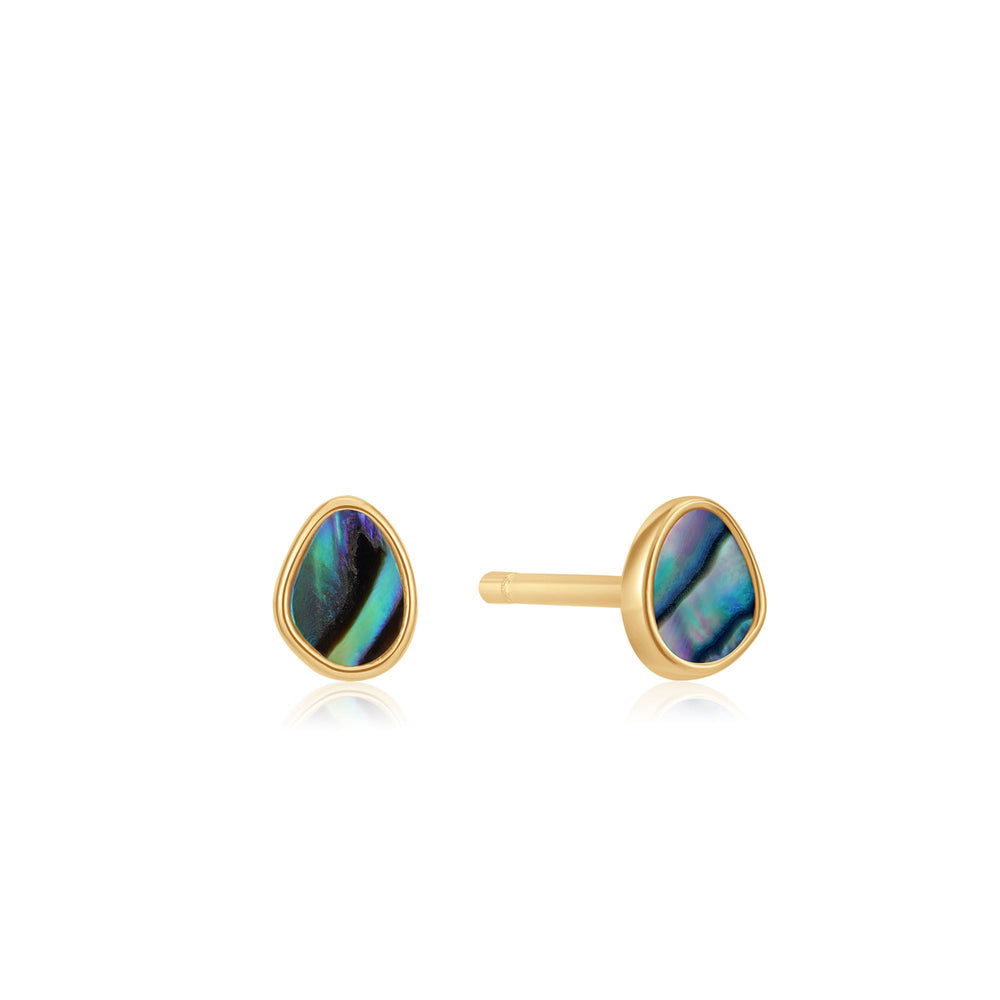 Load image into Gallery viewer, Gold Tidal Abalone Stud Earrings