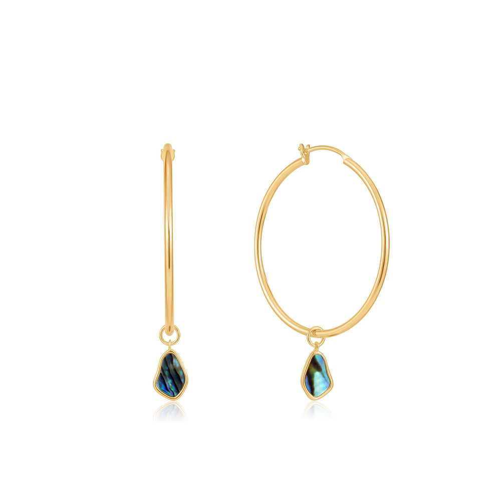 Load image into Gallery viewer, Gold Tidal Abalone Drop Hoop Earrings