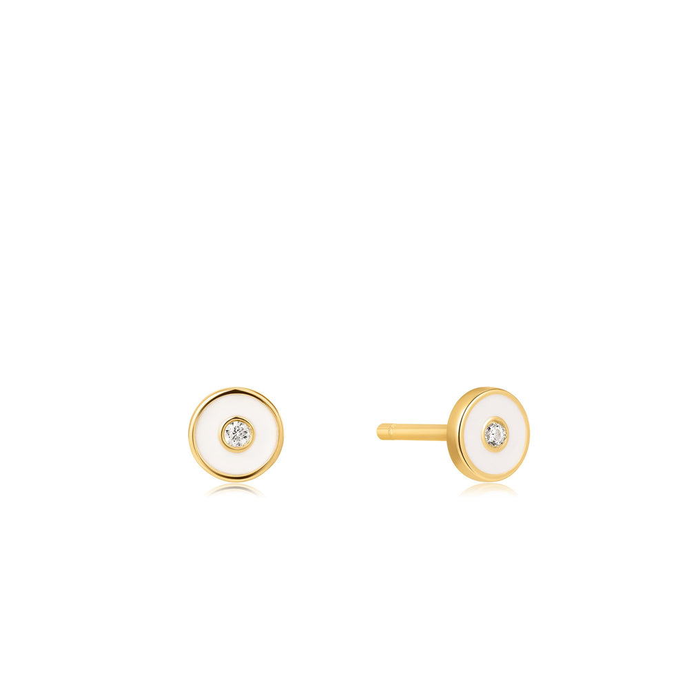 Load image into Gallery viewer, Optic White Enamel Disc Gold Stud Earrings