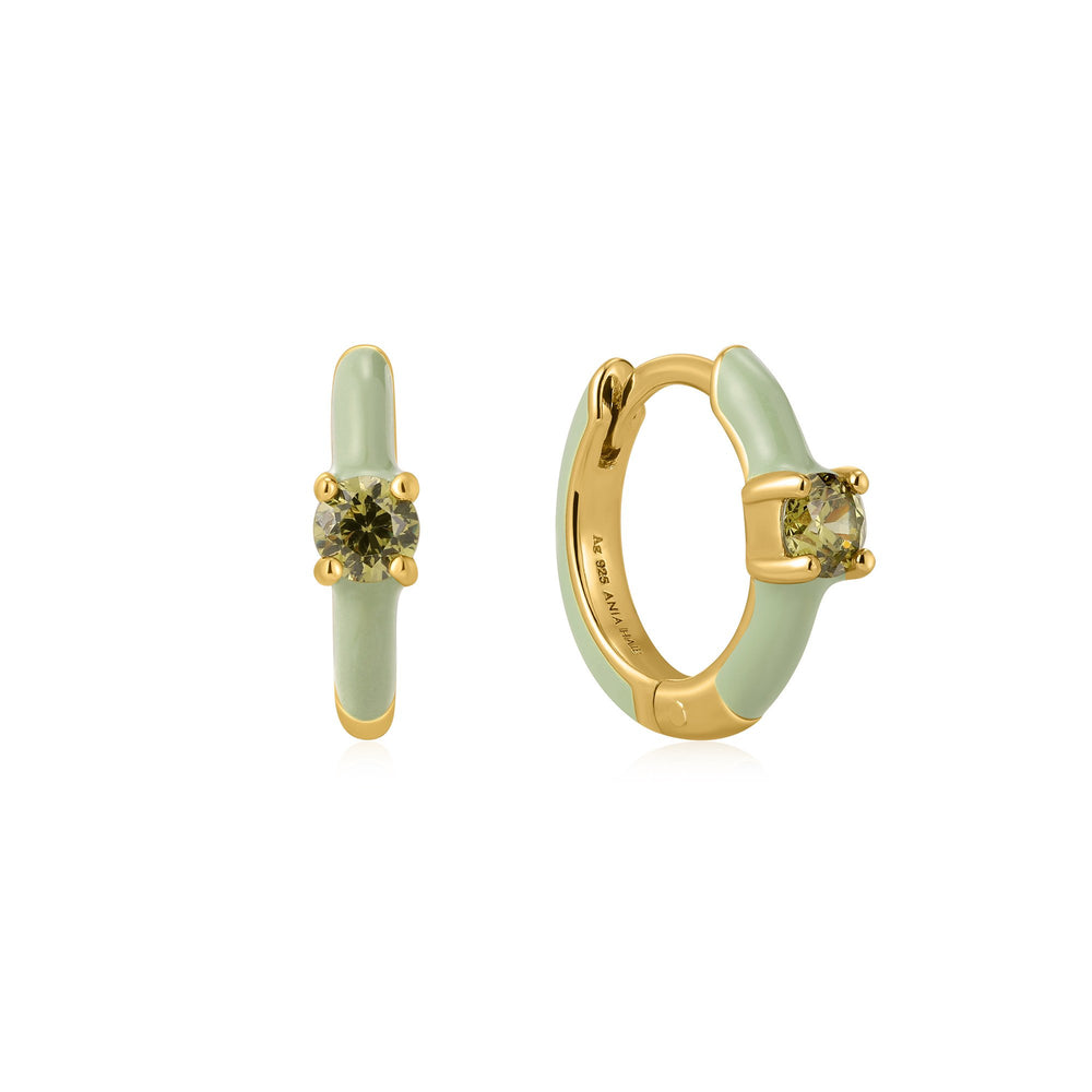 Sage Enamel Gold Huggie Hoop Earrings