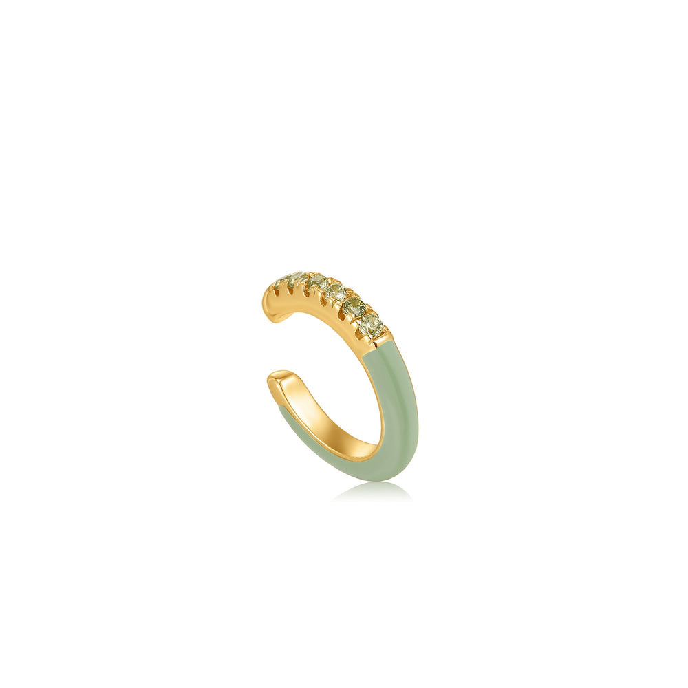 Sage Enamel Gold Ear Cuff